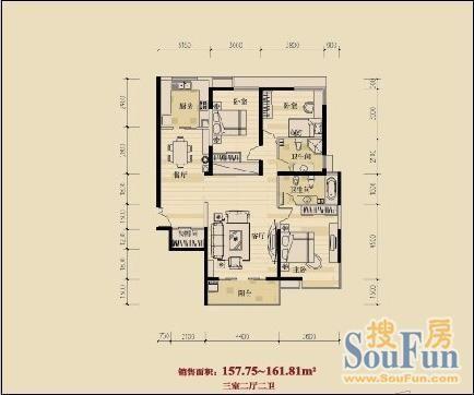 房屋建筑学两室两厅设计图